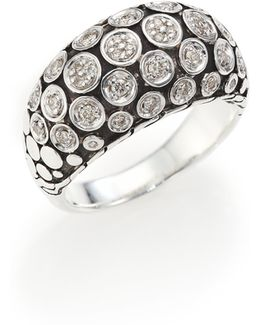 Dot Diamond & Sterling Silver Dome Ring