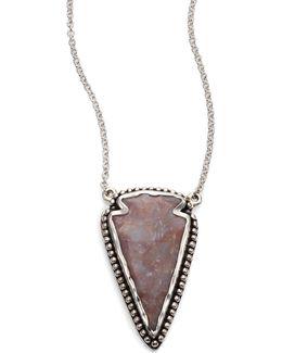 Jasper & Sterling Silver Arrowhead Pendant Necklace