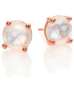 Rose Rock Candy Mother-of-pearl & Clear Quartz Doublet Mini Stud Earrings