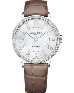 Classima 10222 Stainless Steel & Alligator Strap Watch