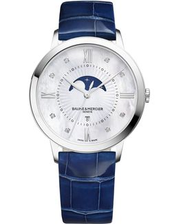 Classima 10226 Moonphase Diamond, Mother-of-pearl, Stainless Steel & Patent Alligator Strap Watc