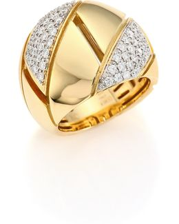 Gourmette Pave Diamond & 18k Yellow Gold Ring