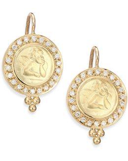 Angels Pave Diamond & 18k Yellow Gold Drop Earrings