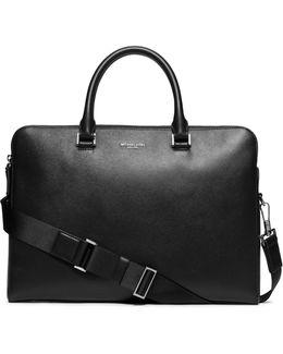 Cross-grain Leather Double-zip Briefcase
