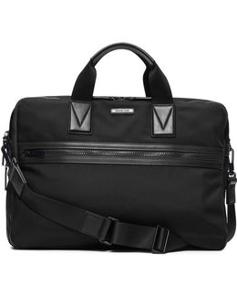 Large Leather-trim Nylon Briefcase