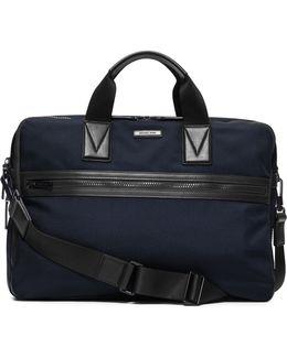 Large Leather-trim Nylon Briefcase