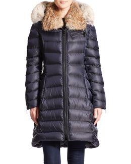 Bee Fur-trimmed Puffer Coat