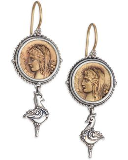 Kerma Bronze & Sterling Silver Coin Drop Earrings
