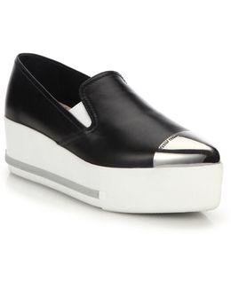 Cap Toe Leather Wedge Skate Sneakers