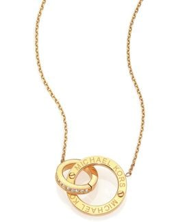 Heritage Logo Pave Double-ring Pendant Necklace/goldtone