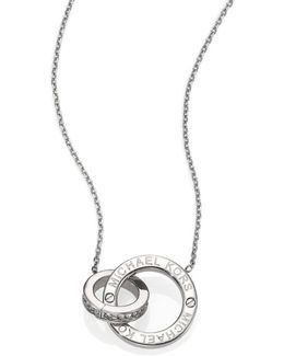Heritage Logo Pave Double-ring Pendant Necklace/silvertone