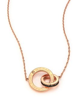 Heritage Logo Pave Double-ring Pendant Necklace/rose Goldtone
