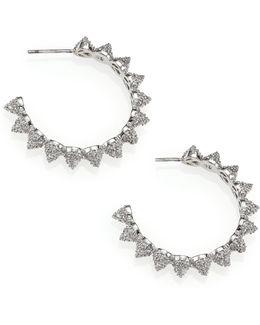Pave Crystal Cone Hoop Earrings/1.25