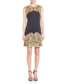 Metallic Lace-trimmed Neoprene Dress