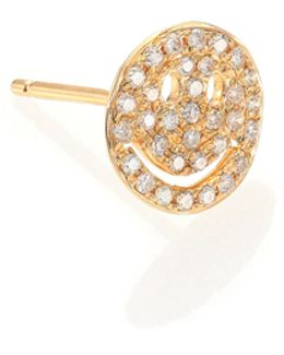 Diamond & 14k Yellow Gold Happy Face Single Stud Earring
