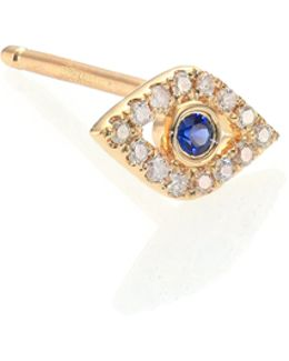 Diamond, Sapphire & 14k Yellow Gold Evil Eye Single Stud Earring