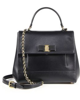 Carrie Saffiano Leather Satchel