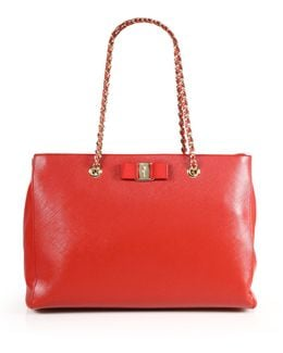 Melike Saffiano Leather Chain Shoulder Tote
