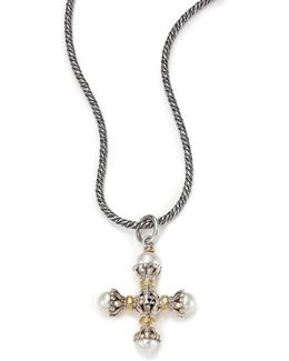 Classic 4mm-5mm White Pearl, 18k Yellow Gold & Sterling Silver Small Maltese Cross Pendant