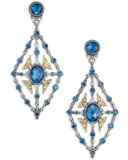 Thalassa London Blue Topaz, 18k Yellow Gold & Sterling Silver Chandelier Earrings