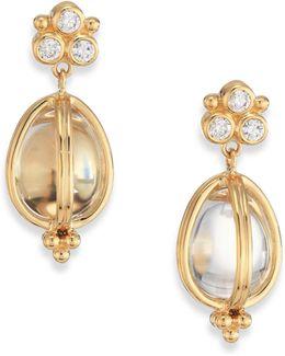 Classic Rock Crystal, Diamond & 18k Yellow Gold Teardrop Amulet Earrings