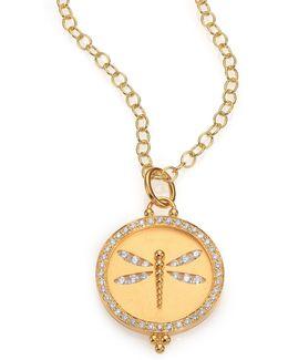 Tree Of Life Diamond & 18k Yellow Gold Dragonfly Cutout Disc Pendant