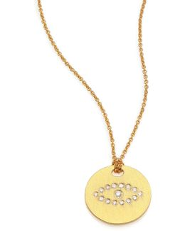 Tiny Treasures Diamond & 18k Yellow Gold Evil Eye Disc Pendant Necklace