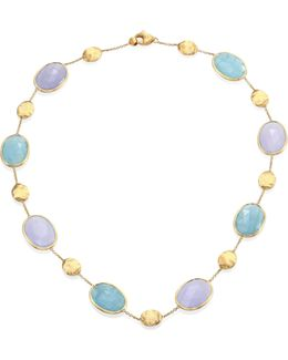 Siviglia Aquamarine, Chalcedony & 18k Yellow Gold Station Necklace