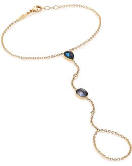 Blue Topaz, Diamond & 14k Yellow Gold Hand Chain Bracelet