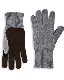 Perforated Cashmere & Suede Gloves