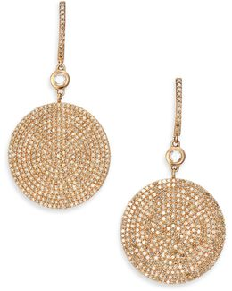 Icon Pave Light Grey Diamond & 14k Rose Gold Drop Earrings