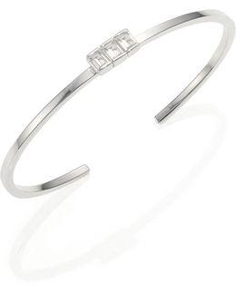 Dasha White Sapphire & Sterling Silver Cuff Bracelet