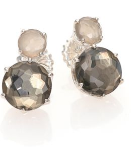 Rock Candy Grey Moonstone, Pyrite & Sterling Silver Two-stone Stud Earrings