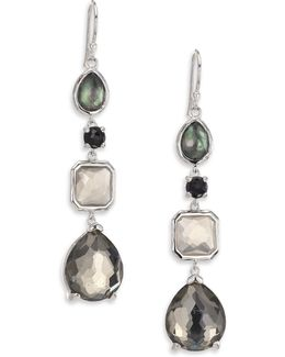 Rock Candy Black Tie Semi-precious Multi-stone & Sterling Silver Mixed Linear Drop Earrings