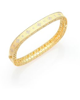 Princess Diamond & 18k Yellow Gold Bangle Bracelet