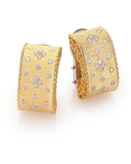 Princess Diamond & 18k Yellow Gold Drop Earrings