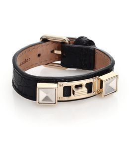 Ps11 Small Crocodile-embossed Leather Bracelet