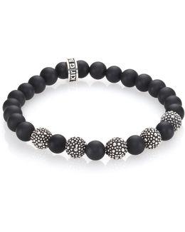 Black Onyx & Sterling Silver Bead Bracelet