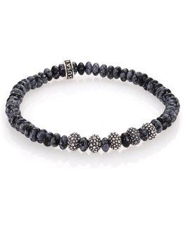 Snowflake Agate & Sterling Silver Bracelet