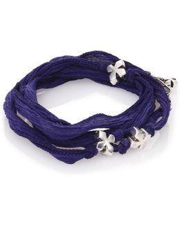 Sterling Silver & Silk X Wrap Bracelet