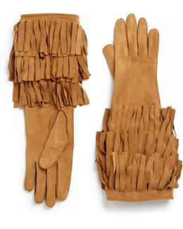 Maureen Suede Fringed Long Gloves