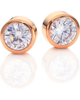 Park Avenue Glam Jeweled Stud Earrings/rose Goldtone
