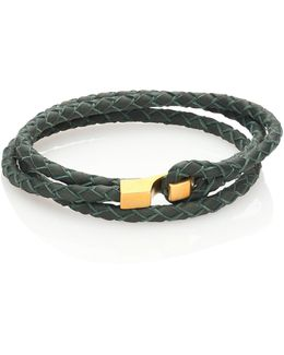 Brass Braided Leather Wrap Bracelet