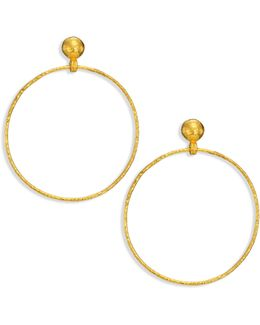 Hoopla 24k Yellow Gold Geo Drop Hoop Earrings