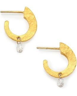 Hoopla Diamond & 24k Yellow Gold Dew Huggie Hoop Earrings/0.55