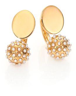 Darcey Faux Pearl Sphere Arc Earrings