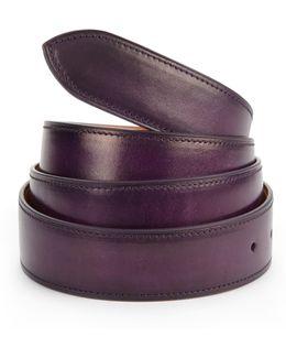 Aubergine Patina French Leather Belt