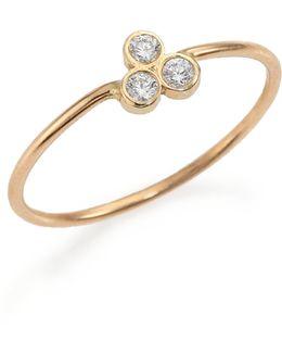 Diamond & 14k Yellow Gold Three-bezel Ring