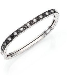 Pois Moi Diamond, Black Sapphire & 18k White Gold Single-row Bangle Bracelet