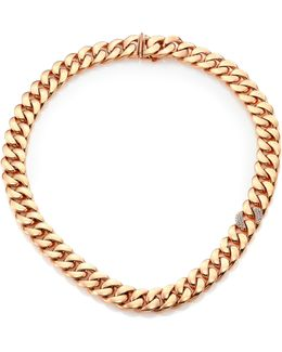 Gourmette Diamond & 18k Rose Gold Chain Necklace